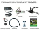 Ombouwset LUXE:   250w motor, 10ampere 36volt accu, LED-display,  tot 100km elektrische fiets_